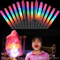 luz led de colores al por mayor-Conos de Glo LED de algodón de azúcar Conos coloridos Palillo de luz LED Flash Glow Stick de caramelo de algodón para conciertos vocales Fiestas nocturnas