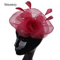 Wholesale vintage hat pins for sale - Group buy Vintage Wedding Headwear For Elegant Ladies Women Fascinator Mesh Hat With Flower Handmade Hair Accessories Hair Pin Headdress AizHo