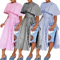 vestidos longos duas fendas laterais venda por atacado-S-3XL Ins Mulheres Ruffles Dividir Vestido 2019 Trendy Two-side Fenda Xadrez Cintura Alta Longo Vestidos de Manga Curta Flounce Vestido Grade Maxiskit C42206
