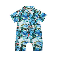 Wholesale tree outfits resale online - 2019 Brand Hot Infant Newborn Baby Boy Long Jumpsuit Romper Coconut Tree Print Short Sleeve Beach Holiday Cotton Clothes Outfit