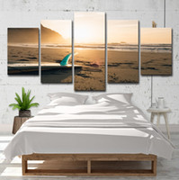 Wholesale surf paintings resale online - 5Pcs Sunshine Beach Surf Board Seascape Oil Painting Poster Wall Art HD Print Canvas Painting Fashion Hanging Pictures