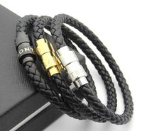 Wholesale mens' bracelets for sale - Group buy New Arrival Leather Bracelets Woven Antique mens black Charm Bracelets Pulseira Masculina Magnet Man bangles fashion Jewelry WL1050