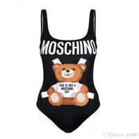 biquínis mulheres elásticas venda por atacado-Urso bonito Meninas Verão Biquinis Moda Alta Elástica Adorável Mulheres Bodysuits INS Personalidade Feminina Backless Beachsuits