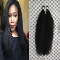 extensões de cabelo humano venda por atacado-I-ponta Extensões de Cabelo Kinky Em Linha Reta Cabelo Virgem Brasileiro 100g Grosso Yaki Remy Vara Ponta Indiano Extensões de Cabelo Humano,