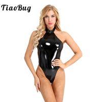 uma peça leotard bodysuit venda por atacado-TiaoBug Mulheres One-piece Wetlook Couro De Patente Catsuit Swimsuit Halter Collant Bodysuit Boate Festa de Corte Alto Sexy Bodysuit