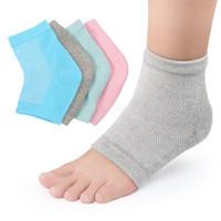 meias para pés secos venda por atacado-Calcanhar Socks malha Gel Anti rachadura calcanhar Spa Crochet Meias Moda Moisturing Meias Pés Cuidados Rachado pé seco pele dura Protector LJA2452