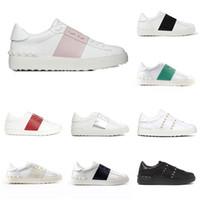 asta de remache al por mayor-Los zapatos del diseñador Venta caliente lujo para los hombres las mujeres del remache de la astilla Negro Verde Rosa de cuero franja caminar número de calzado informal 36-46
