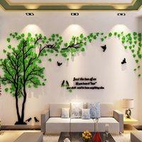 geniş dekoratif duvar posterleri toptan satış-Büyük Boy Ağacı Akrilik Dekoratif 3d Sticker Diy Sanat Tv Arka Plan Duvar Posteri Ev Dekor Yatak Odası Oturma Odası Wallstickers Q190531