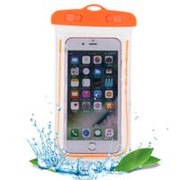 ingrosso cassa di telefono universale da 3,5 pollici-Borse da nuoto Borsa impermeabile con custodia per telefono subacquea luminosa per iPhone 8 X universale tutti i modelli da 3,5 pollici -6 pollici