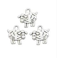 schafcharme anhänger großhandel-200 teile / los Antikes Silber Überzogene Schafe Charms Anhänger für Halskette Schmuck Handgemachte Fertigkeit DIY 15x16mm