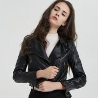 yeni kadın pu deri ince toptan satış-2019 Yeni Sonbahar Kış kadın Ince Yıkanmış Pu Deri Ceket Moda Sahte Yumuşak Deri Palto Bayan Fermuar Ceketler
