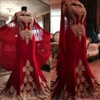 robes indien dubai achat en gros de-Date dentelle rouge foncé arabe robes de soirée de Dubaï 2019 chérie perlée sirène mousseline de soie robes de bal indienne avec un manteau Yousef Aljasmi