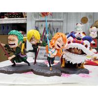 figuras do rei leão venda por atacado-One Piece Figura Náutico Rei Nova Primavera Nami Luffy Zoro Sanj Figura de Ação Chapéu de Palha Grupo Festival da Primavera Dragão Dança do Leão Box