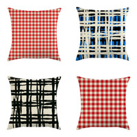 Wholesale 18x18 pillow cushion covers for sale - Group buy Classic Plaid Pillow Cover x18 Inch Linen Pillow Case Red Blue Lattice Throw Pillow Cushion Cover Home Christmas Decoration DBC VT1029