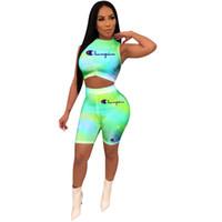 camisetas ajustadas al por mayor-Campeón de las mujeres Chaleco Chándal Verano Crop Tank Top Bodycon + Shorts 2 unids / set Trajes de Yoga Tight Shorts Gradient Color Sportwear A32702
