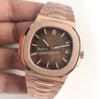 Wholesale men s watches date resale online - Luxury Men s Rose gold Watch Mens Automatic Watches Men Cal S C Brown Dial Nautilus PF Factory Eta mm Miyota Wristwatches