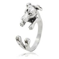 bebê italiano venda por atacado-Vintage Prata Boho Italian Greyhound Dog Ring Para As Mulheres Whippet Animal Casal Meados Anéis De Dedo Para As Meninas Crianças Baby Dog Amante Presente