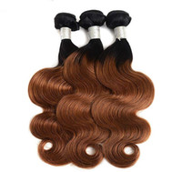 onduler les traces de cheveux directement achat en gros de-Brésilien Ombre Cheveux Vague de Corps Droite Remy Cheveux Tisse 1B / 30 Double Trames Haute Qualité Livraison Gratuite