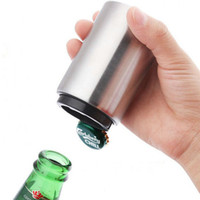 Wholesale magnetic opener for sale - Group buy Magnetic Automatic Beer bottle opener Cap Opener Creative Stainless Steel Press Type bottle opener Home Kitchen Bar Tools T2I5305