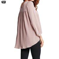 asymmetrische chiffonbluse großhandel-Chiffon Damen Bluse plissiert O-Ausschnitt Langarm Blusas lose Feminina Asymmetrische beiläufige 5Xl Plus Size-Shirt Spitze 2019