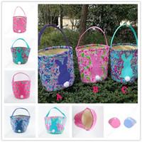 Wholesale flower tote bag pattern for sale - Group buy INS Lilly Barrels Baskets Flowers Pattern Print Burlap Storage Bag DIY Easter Shopping Handbags Tote Easter Egg Candy Gifts Basket A21903