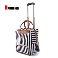 модные женские чемоданы оптовых-Новая горячая мода женщины тележка багажа прокатки чемодан бренд прокатки дизайнер вещевой чехол дорожная сумка на колесах чемодан багажа