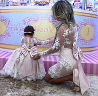 Wholesale mother girls pageant dresses for sale - Group buy Mother Daughter Flower Girl Dresses Princess Pink Satin Lace Long Sleeves A Line Pageant Dresses Kids Formal Party Gowns Wear with Big Bow