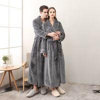 pijamas para mujer túnicas al por mayor-El hombre y la mujer franela, además de baño tamaño bata de invierno larga bata de baño para mujer bata batas de dormir femenina de algodón atractivo de los pijamas