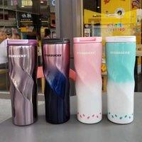 couverture café starbucks achat en gros de-Starbucks 304 couleurs de dégradé de tasse en acier inoxydable pour hommes et femmes étudiants avec couvercles de tasses à café portables