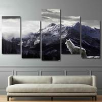yatak odalı dekorlar toptan satış-HD Baskılar Tuval Wall Art Salon Ev Dekor Resimleri 5 Parça Kar Dağ Plato Kurt Resim Sergisi Hayvan Posterler Çerçeve