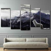 feng shui wohnkultur großhandel-HD Drucke Leinwand Wandkunst Wohnzimmer Wohnkultur Bilder 5 Stücke Schnee Bergplateau Wolf Gemälde Tier Poster Rahmen