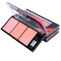 paletas de maquillaje elegante al por mayor-Cosméticos de color rojo elegante con pincel de maquillaje Blusher Blush Face Palette