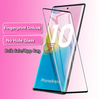 Wholesale 3d glossy case online – custom NO HOLE Fingerprint Unlock CASE Friendly Screen Protector for Galaxy Note10 Note S10 S9 S8 PLUS S10E D Full Cover Tempered Glass