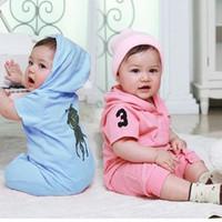 hoodie tulum takımı toptan satış-Yeni 2019 yaz Süper Sevimli unisex bebek tulum kısa kollu polo bebek boysgirls Hoodie% 100% pamuk bebek tulumlar giyim
