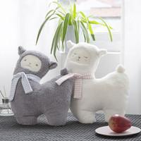 bolsos de piel azul al por mayor-Nueva gris / blanco oveja peluche de juguete de peluche suave animal de peluche alpaca kawaii niños regalo de cumpleaños muñeca