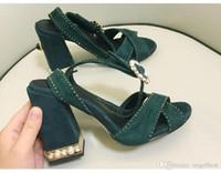 синие свадебные сандалии оптовых-новая летняя мода жемчуг коренастый каблук женщины сандалии высокий каблук платье сандалии крест ремень свадьба сандалии обувь леди розовый темно-синий