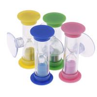 ingrosso bambini timers-Multicolor Kids Hourglass MiNi Glass Sand Clock Per denti Gadget Spazzolino Swivel Sand Tempo minuti Shower Timer 1Pc 2 minuti