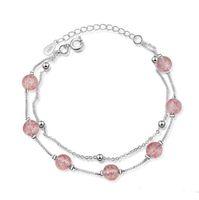 rosa rosa para pulseiras venda por atacado-Moda Camadas Dupla Morango De Cristal Rosa Rosa Contas De Quartzo Banhado A Prata Pulseira Doce Pulseira Jóias para Mulheres Meninas Presente