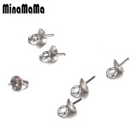 100Pcs lot Stainless Steel Connector Bail Cap Imitation Pearl Beads Caps Accessories for Jewelry Marking