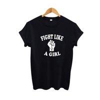 30ae1df3d3c0 Women s Tee Fight Like A Girl T Shirt Tumblr Women Hipster Slogan Tee Shirt  Feminist Tshirt Graphic Sign 2019 Summer Tops Women Clothes