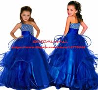 ingrosso abiti da paglia morbidi-Principessa 2019 Abiti da spettacolo di perline di cristallo per le ragazze Fluffy Long Kids Abiti da ballo di compleanno formale Royal Blue Ball Gown Flower Girls Dress