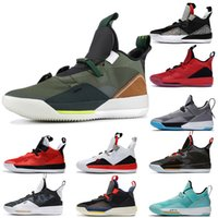 Wholesale scott cycling tops resale online - Hot Selling Jumpman Travis Scott x s XXXIII Mens Basketball Shoes Top Quality Dark Grey University Red SE Cement Grey Trainers Sneakers