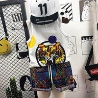 erkekler için rahat yelek toptan satış-Yeni Yaz Karikatür kaplan Çocuk Setleri Erkek Giyim Setleri 2 adet rahat Erkek Takım Elbise pamuk Yelek + şort Çocuk Kıyafet çocu ...