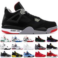 gatos zapatos para correr al por mayor-4 4s Zapatillas de baloncesto para hombre Bred ROYALTY BLACK CAT pizzería negro THUNDER Oreo Moda para hombre Zapatillas de deporte de diseñador Zapatillas deportivas 7-13