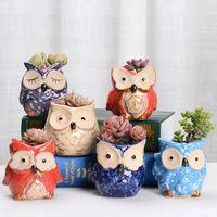 Wholesale pots resale online - Owl Ceramic Pot Empty Succulent Plant Pot Cactus Flower Pots Cartoon Colorful Succulent Plant for Desktop Garden Home HHA563