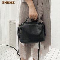 мягкие сумки для выходных оптовых-PNDME мода старинные натуральная кожа дамы плеча сумки Повседневные мягкие воловьей кожи выходные роскошные маленькие сумки для женщин