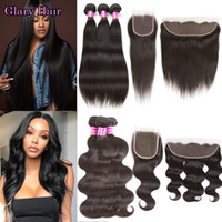 Wholesale brazilian virgin hair wefts resale online - 10A Brazilian Virgin Hair Straight Bundles with Frontal Unprocessed Body Wave Human Hair Wefts with Closure Peruvian Malaysian Extensions