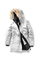 mejores marcas de piel al por mayor-Parkas las mujeres del diseñador del invierno Canadá la mejor calidad de marca abajo cubren Savona grueso de lujo con capucha Outwear verdadero lobo de piel caliente chaquetas E16