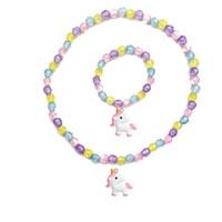 кулон для девочки оптовых-Cartoon Unicorn Necklace Bracelet Set Thick  Baby Cute Unicorn Pendant Necklace Girl Chain Jewelry Gift