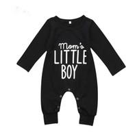 ingrosso tuta di tuta per bambini-Brand New Fashion Neonato Infant Baby Boys Pagliaccetto manica lunga Tuta Playsuit Little Boy abiti neri vestiti